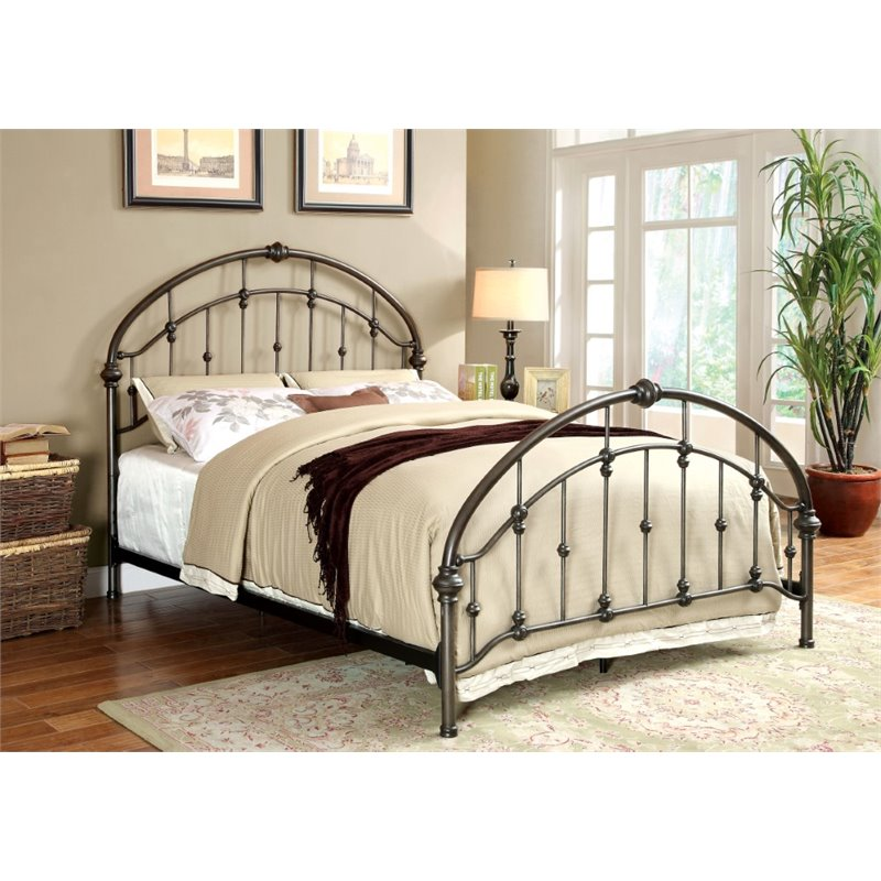 Furniture of America Niva King Metal Bed in Brushed Bronze
