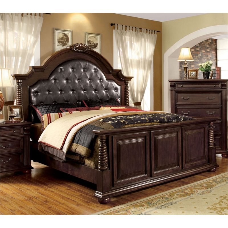 Furniture of America Catherine King Tufted Leather Panel Bed