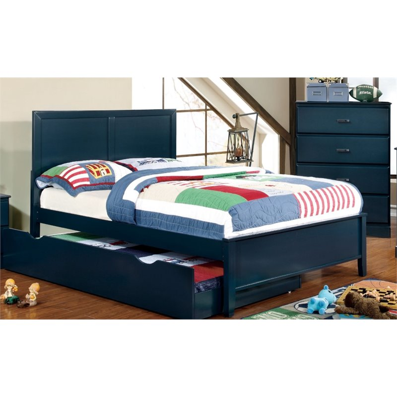 Furniture of America Geller Full Panel Bed in Currant Blue