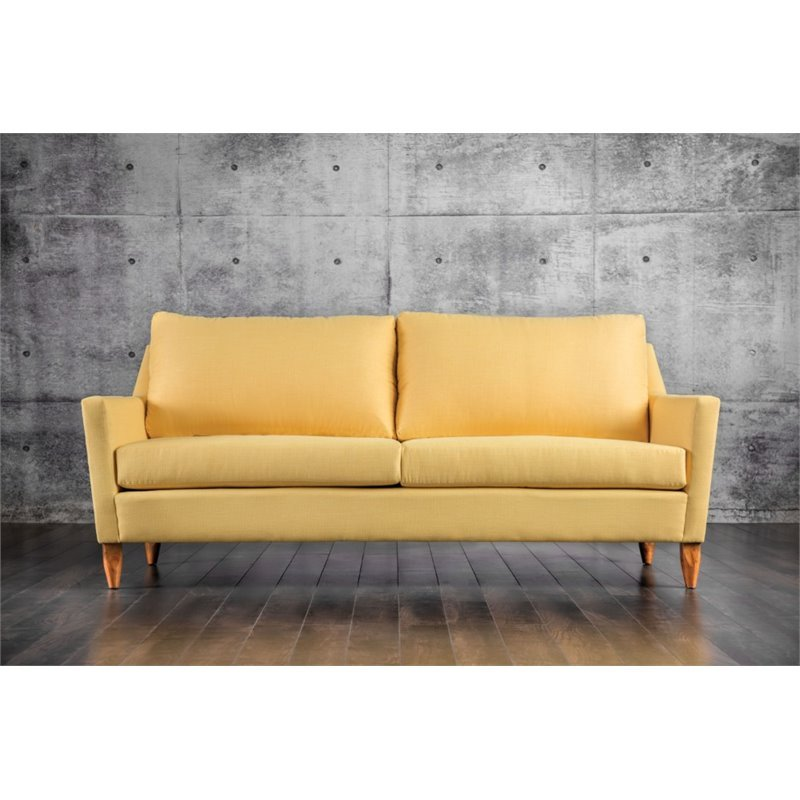 Furniture of America Amie Plush Sofa in Yellow