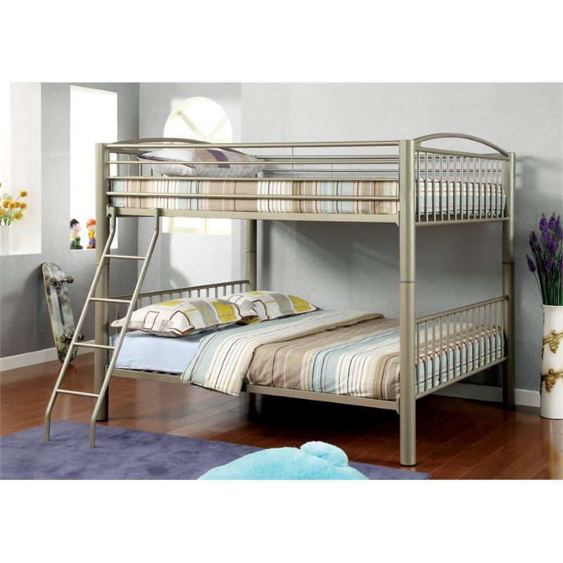 Furniture of America Lohani Full over Full Metal Bunk Bed in Gold