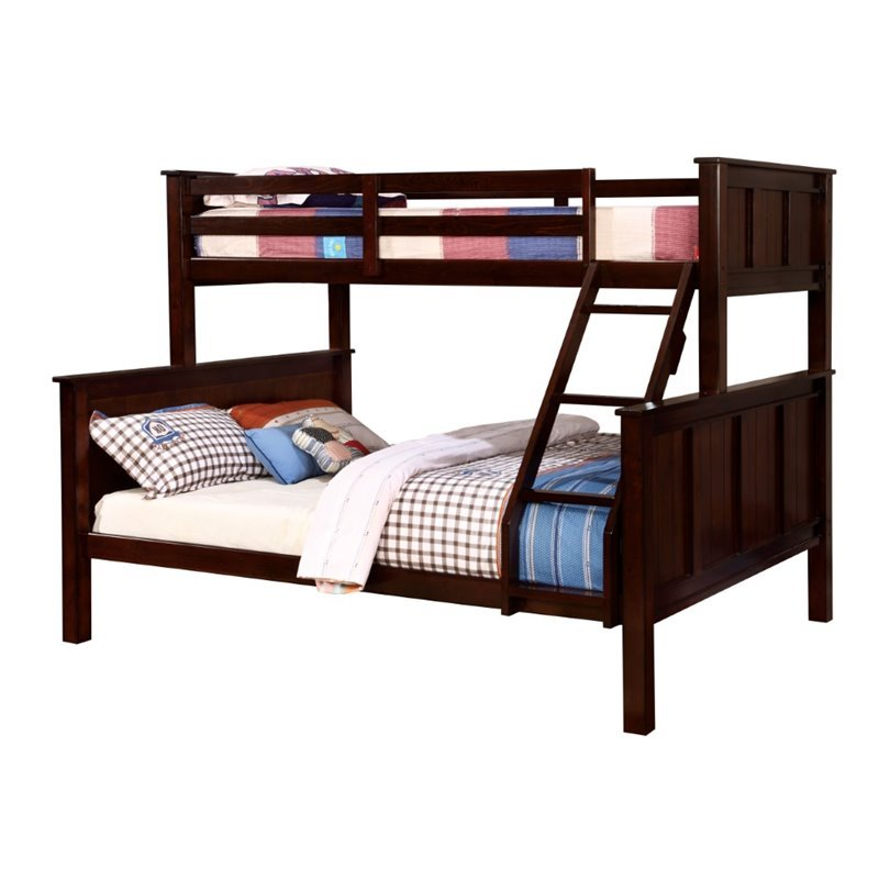 Furniture of America Cory Twin over Queen Bunk Bed in Dark Walnut