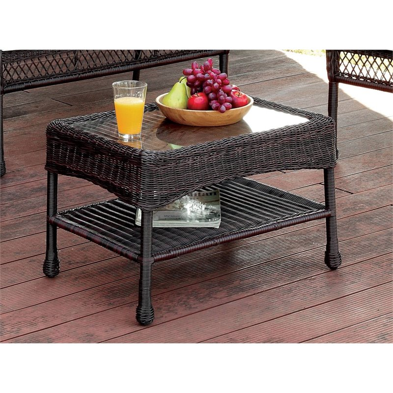 Furniture of America Levi Patio Coffee Table in Brown