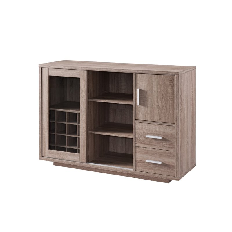 Furniture of America Payton Wine Rack Buffet in Weathered Wood