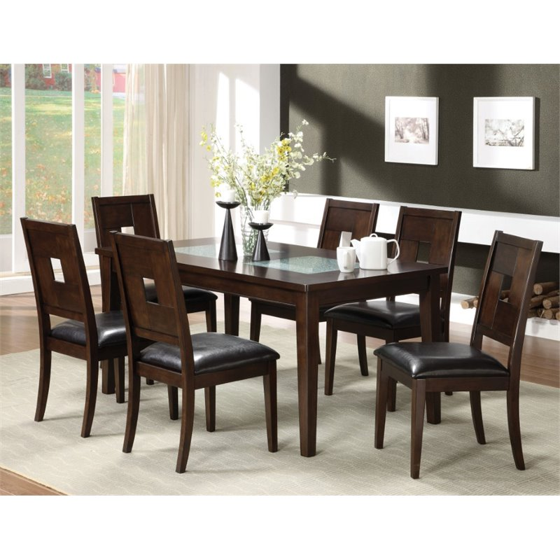 Furniture of America Biland 5 Piece Dining Set in Dark Walnut