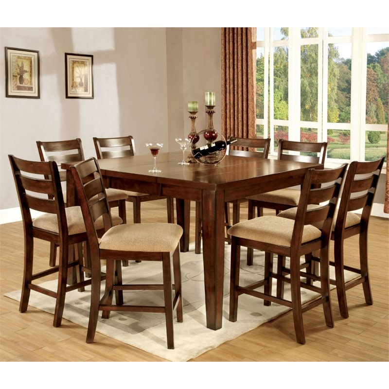 Furniture of America Braddy 9 Piece Counter Height Dining Set