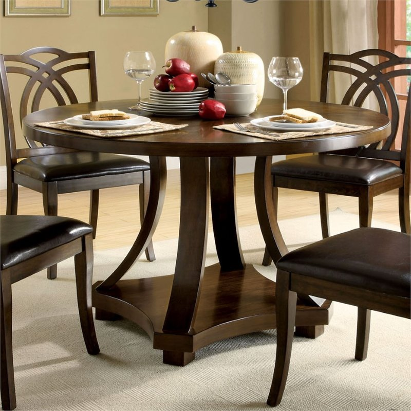 Furniture of America Lafayette Round Dining Table in Dark Walnut