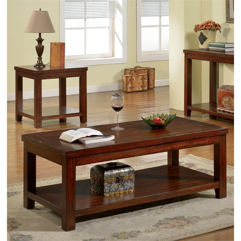 Furniture of America Granger 2 Piece Coffee Table Set in Dark Cherry