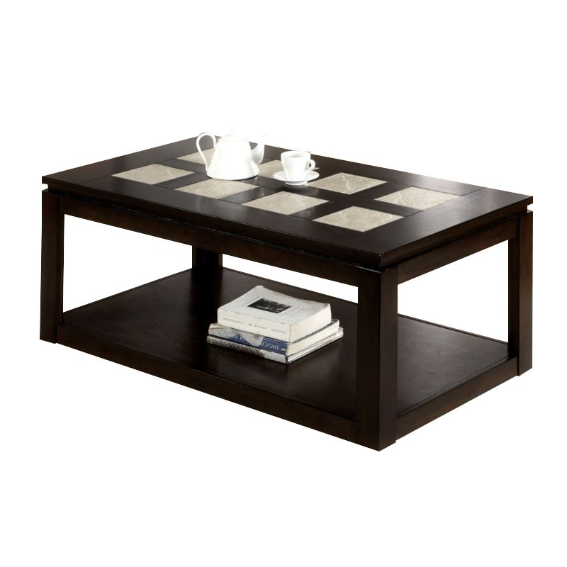 Furniture of America Vicenta Tile Insert Coffee Table in Espresso