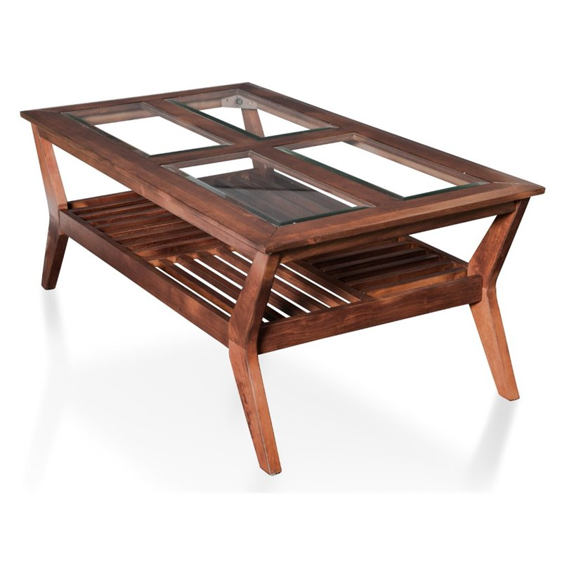 Furniture of America Rolland Coffee Table in Dark Cherry