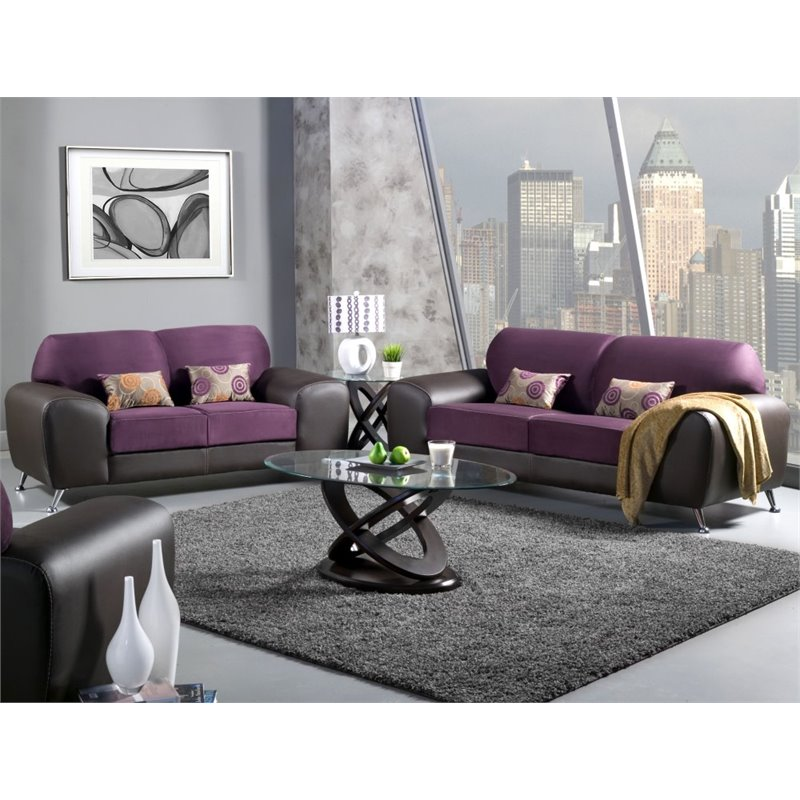Furniture of America Cowell 2 Piece Leatherette Sofa Set in Grape