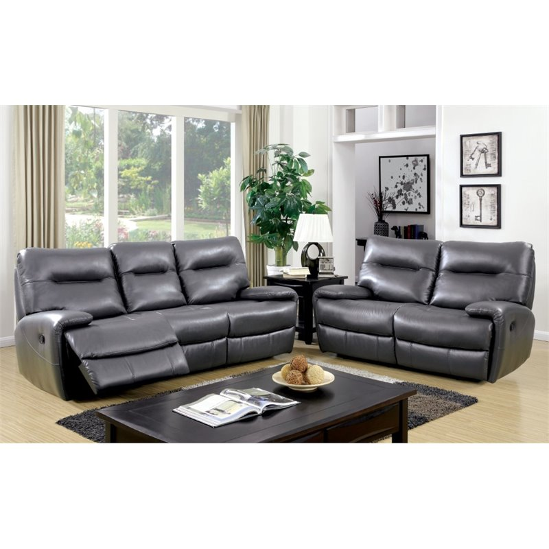 Furniture of America Newell 3 Piece Reclining Sofa Set in Grey