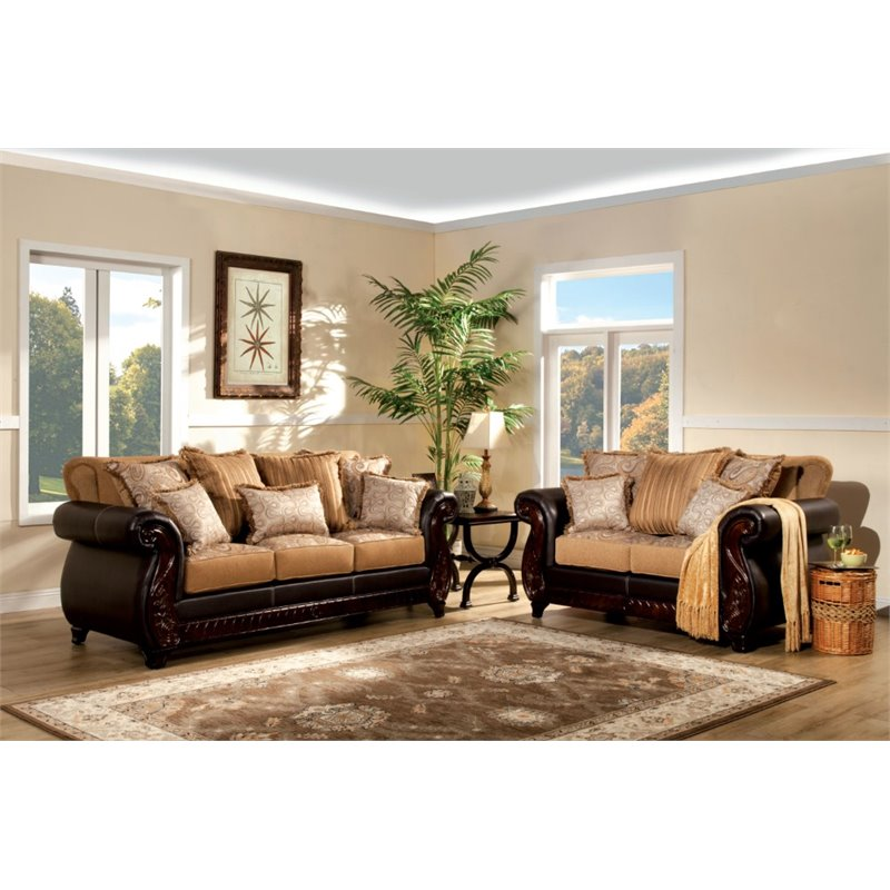 Furniture of America Holley 2 Piece Sofa Set in Tan and Espresso