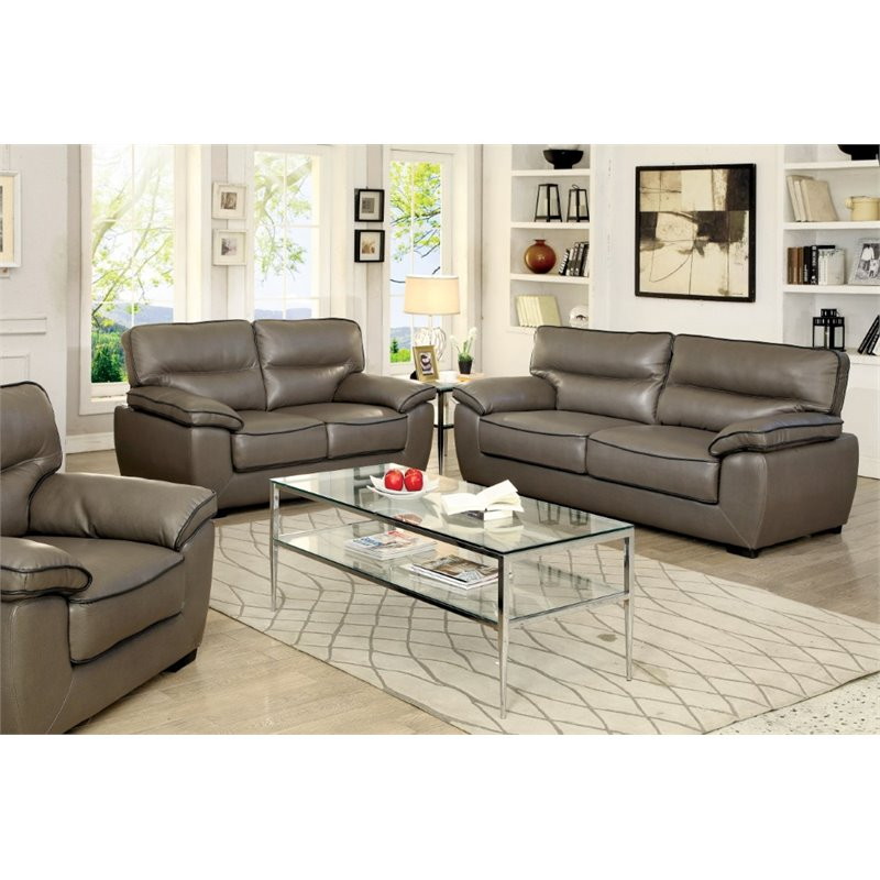 Furniture of America Hayley 3 Piece Plush Leatherette Sofa Set in Gray