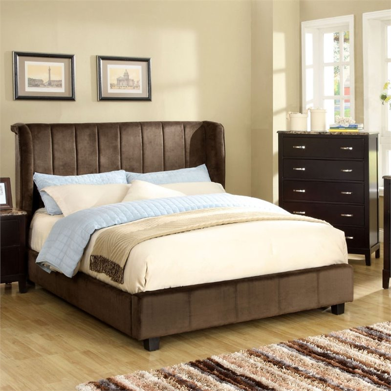 Furniture of America Trichtone Padded King Bed in Dark Brown