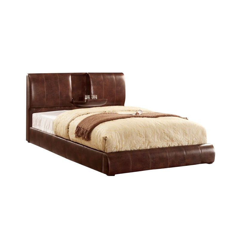 Furniture of America Modulime Leatherette California King Bed in Brown
