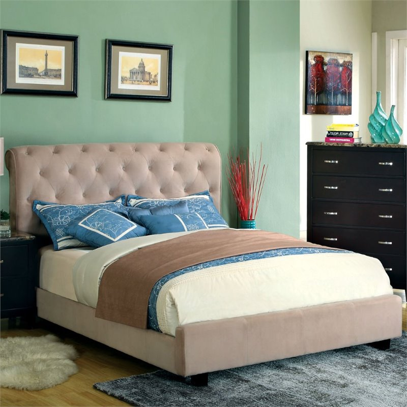 Furniture of America Weenzel Button Tufted California King Bed