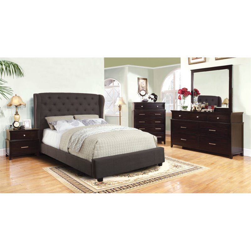 Furniture Of America Titonian 4 Piece Queen Bedroom Set In Gray
