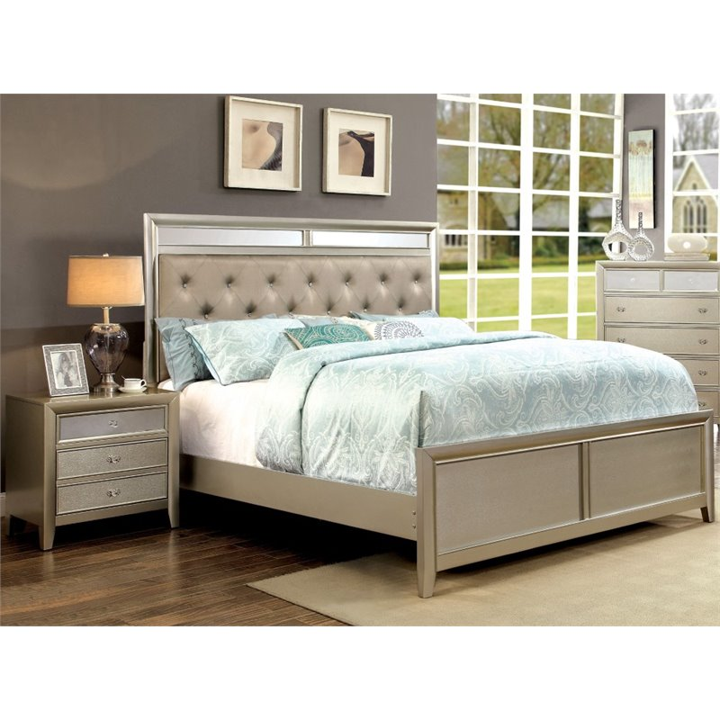Furniture of America Maire 2 Piece Queen Bedroom Set in Silver