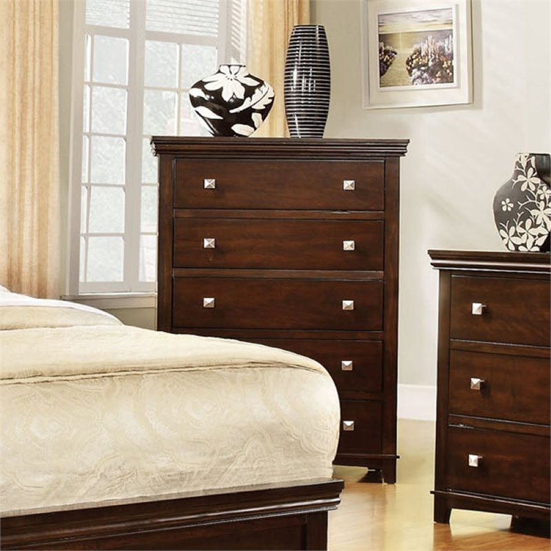 Furniture of America Fanquite 5 Drawer Chest in Brown Cherry