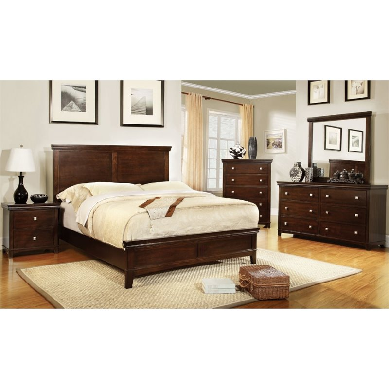 Furniture Of America Fanquite 4 Piece Full Bedroom Set In Brown Cherry