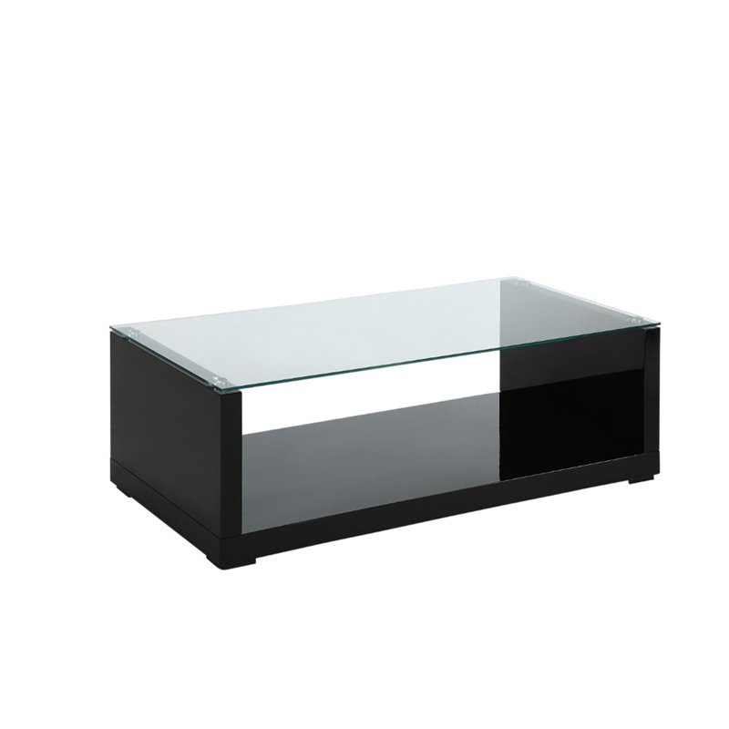 Furniture of America Delilah Glass Top Coffee Table in Glossy Black