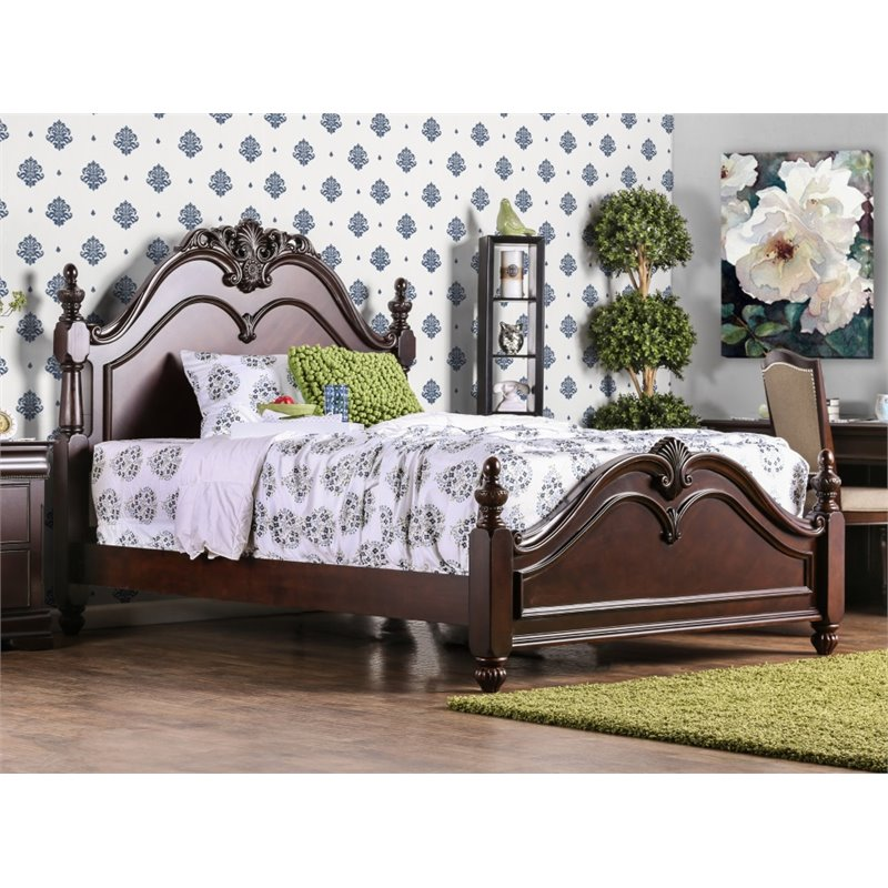 Furniture of America Ruben Queen Poster Bed in Cherry