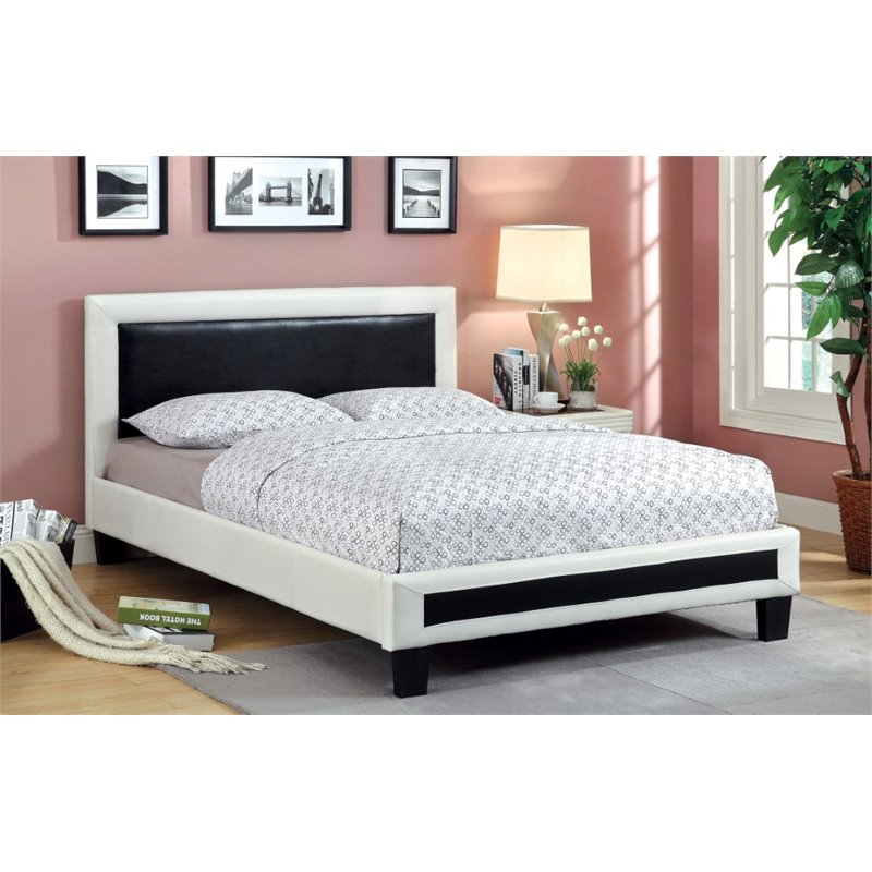Furniture of America Retticker Full Leather Bed in Black and White