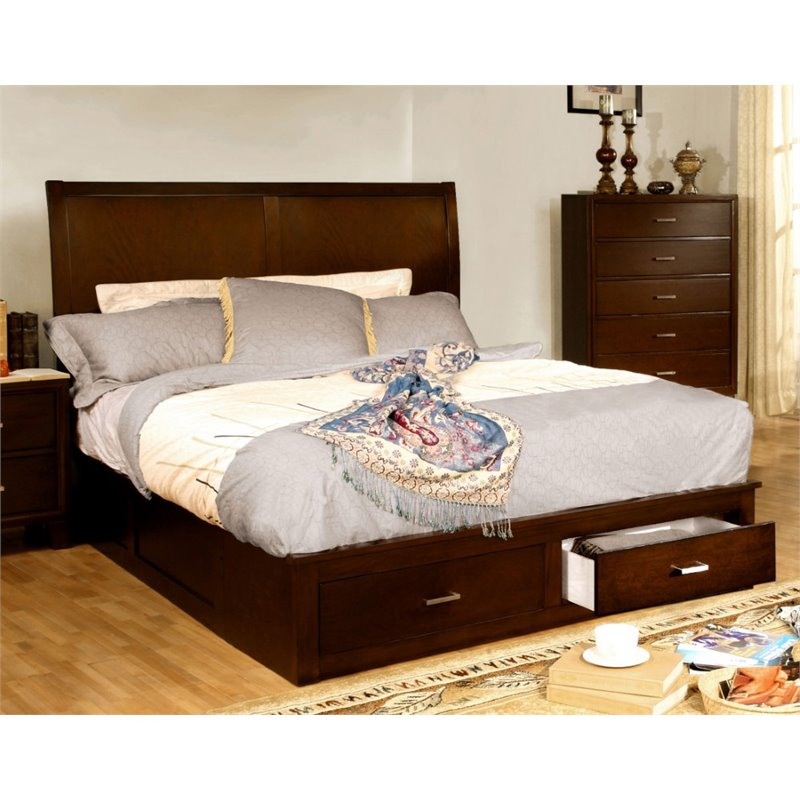 Furniture of America Ruggend King Storage Platform Bed in Brown Cherry