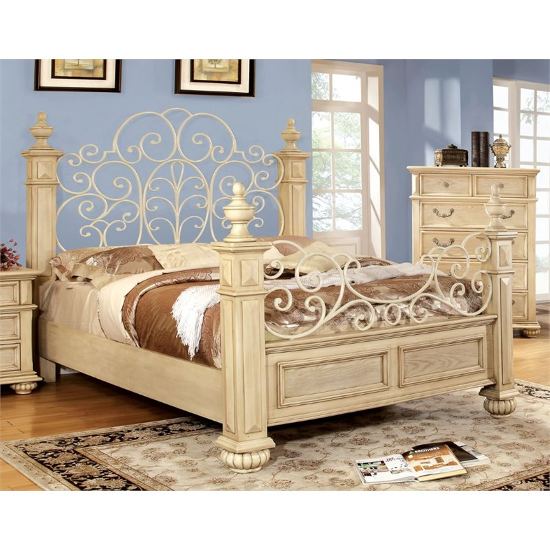 Furniture of America Thayer King Poster Bed in Antique White