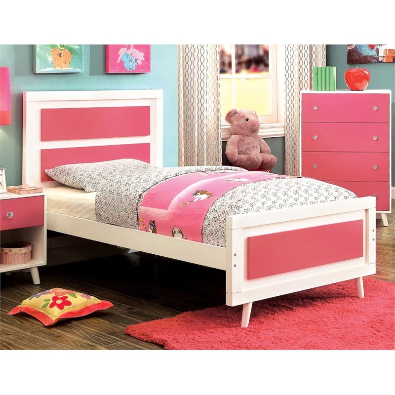 Furniture of America Jennings Twin Platform Panel Bed in Pink