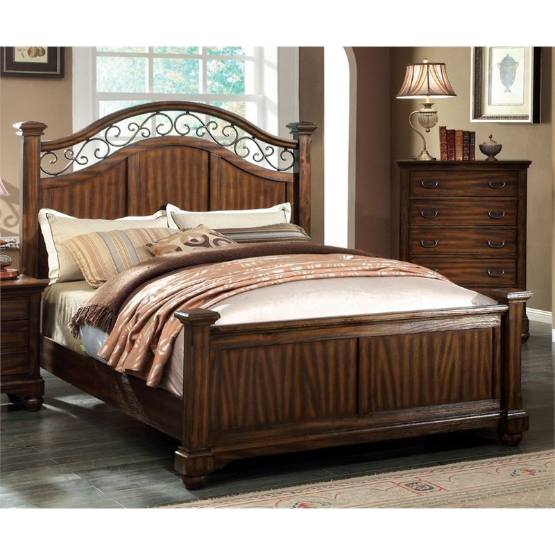 Furniture of America Makayla Queen Poster Bed in Antique Dark Oak