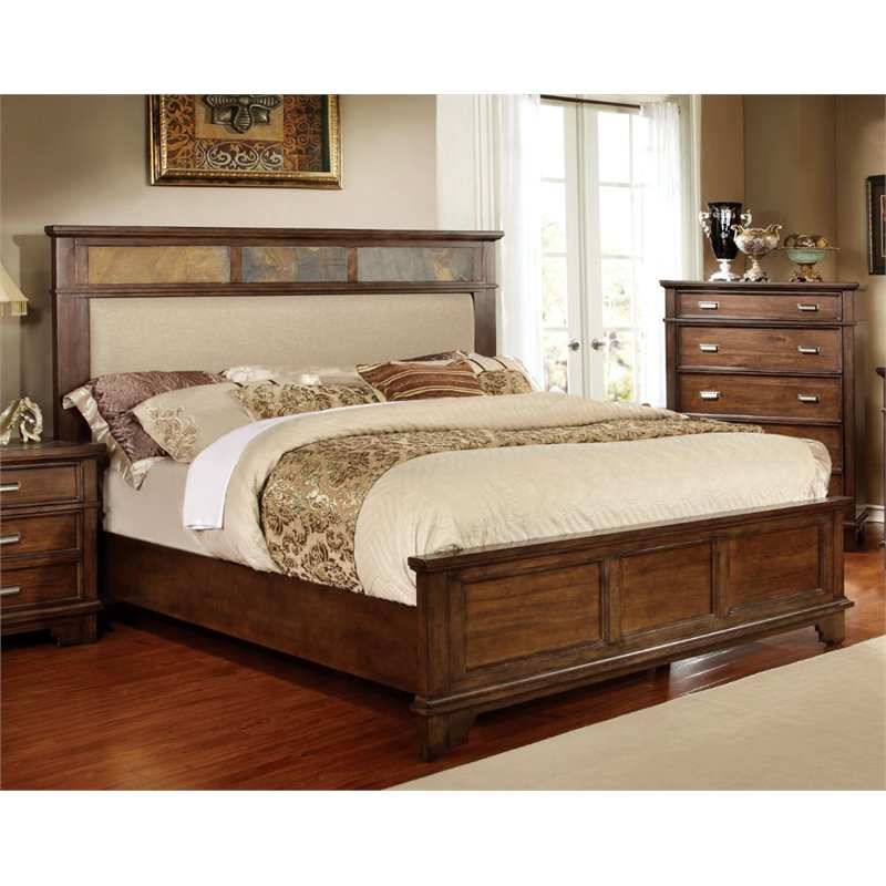 Furniture of America Marley Queen Panel Bed in Brown Cherry