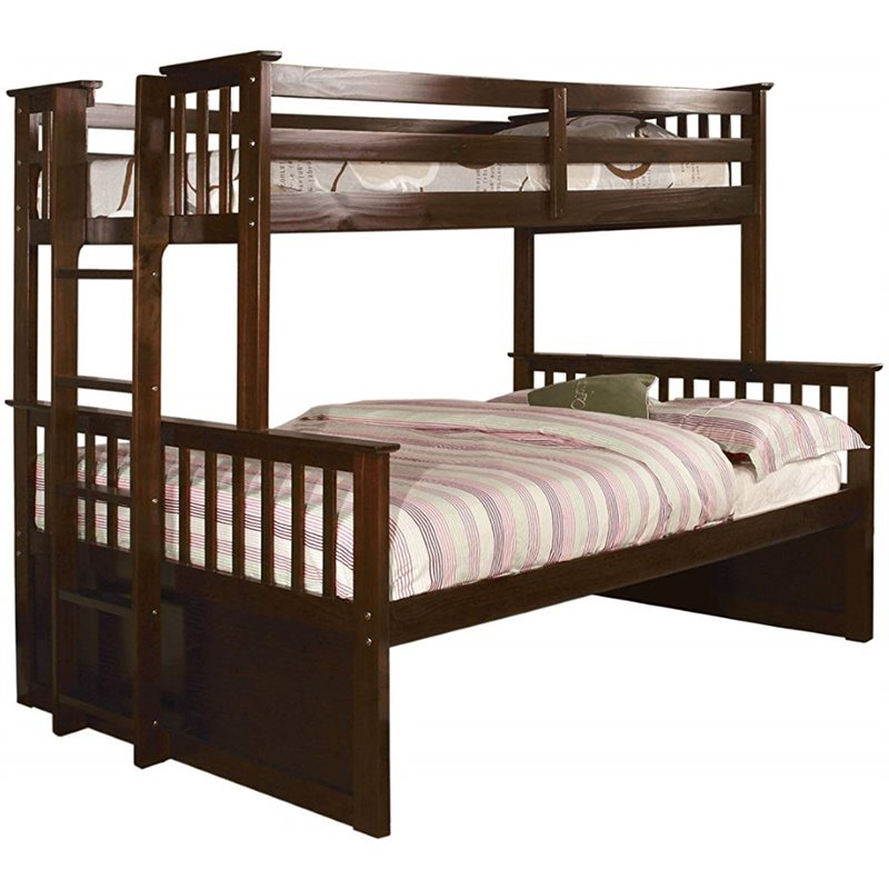 Furniture of America Frederick Twin over Queen Bunk Bed in Espresso