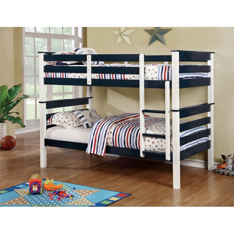 Furniture of America Leuan Twin over Twin Bunk Bed in Blue
