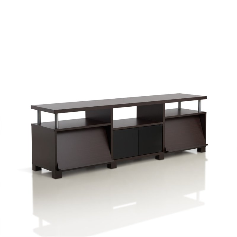 Furniture of America Sebastian 72.8 TV Stand in Walnut
