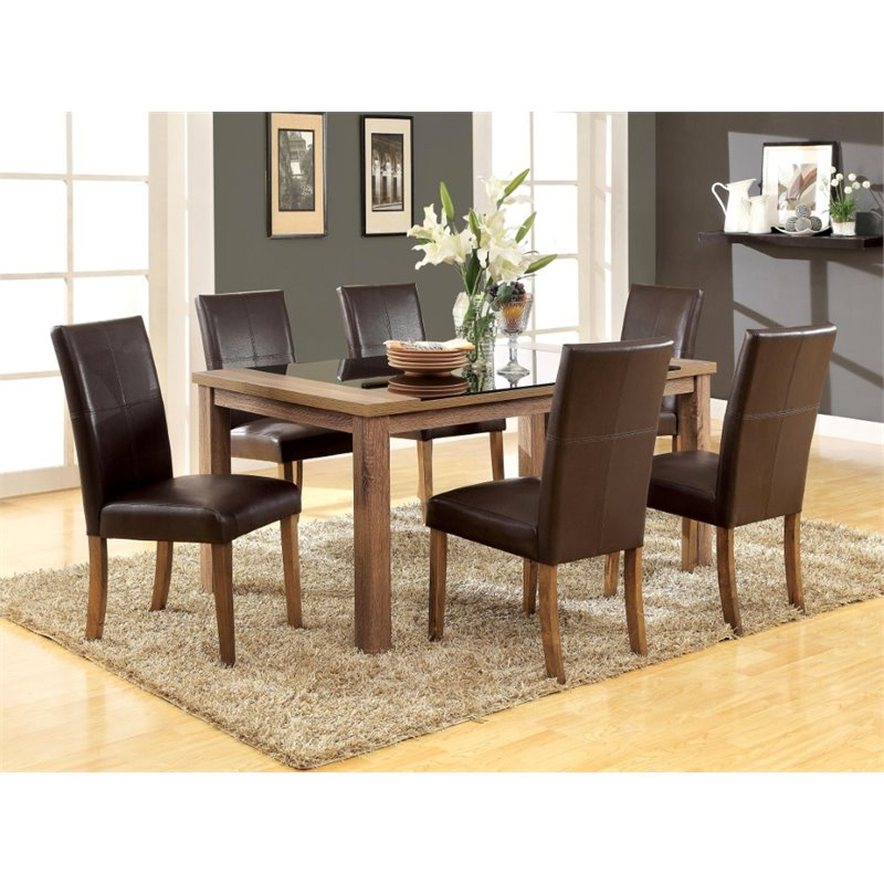 Furniture of America Kiracha 7 Piece Dining Set in Dark Brown