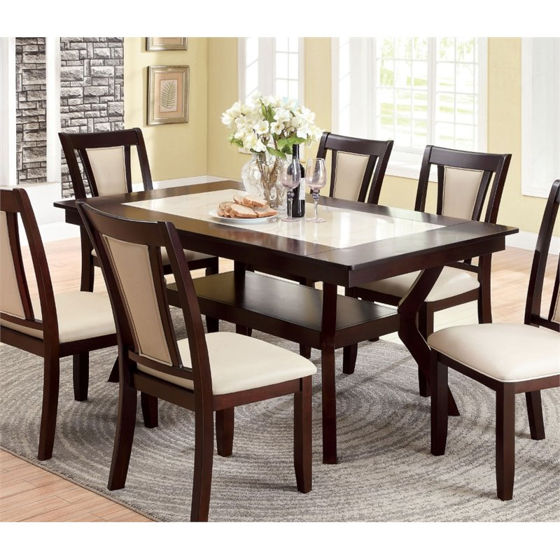 Furniture of America Melott Dining Table in Dark Cherry