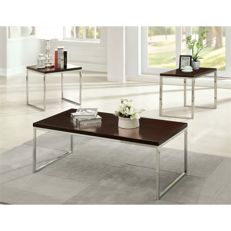 Furniture of America Kahill 3 Piece Coffee Table Set in Espresso