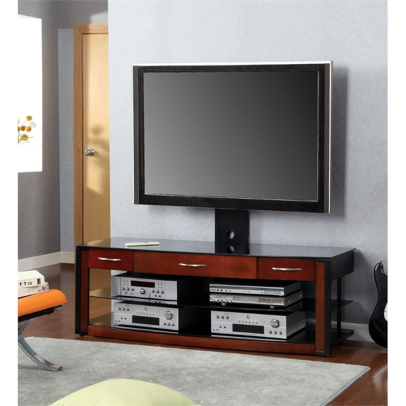 Furniture of America Russel Modern 60 TV Stand with Mount in Cherry