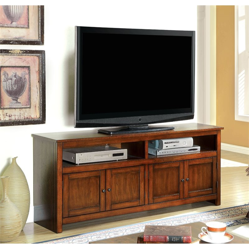 Furniture of America Killian 60 TV Stand in Antique Oak
