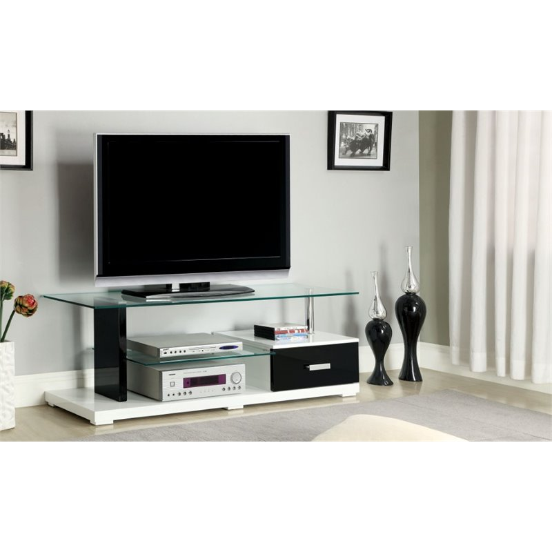 Furniture of America Seline 55.13 Glass Top TV Stand in White