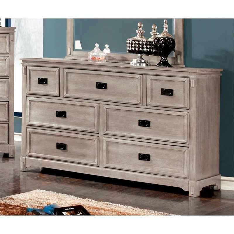 Furniture of America Shipman 7 Drawer Dresser in Weathered Gray