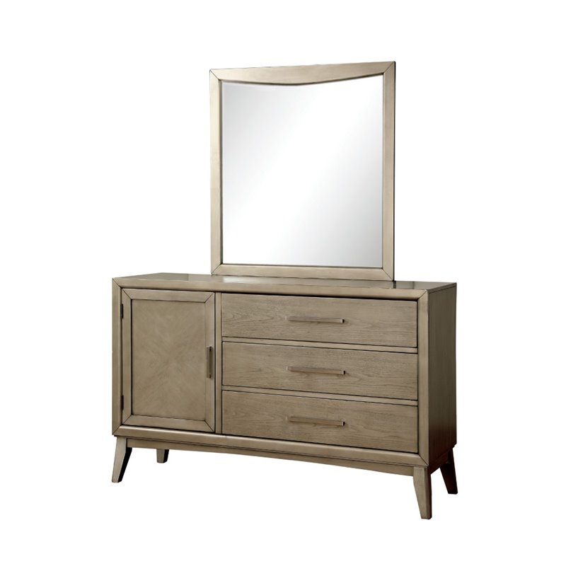 Furniture of America Carmen 3 Drawer Dresser and Mirror Set in Gray