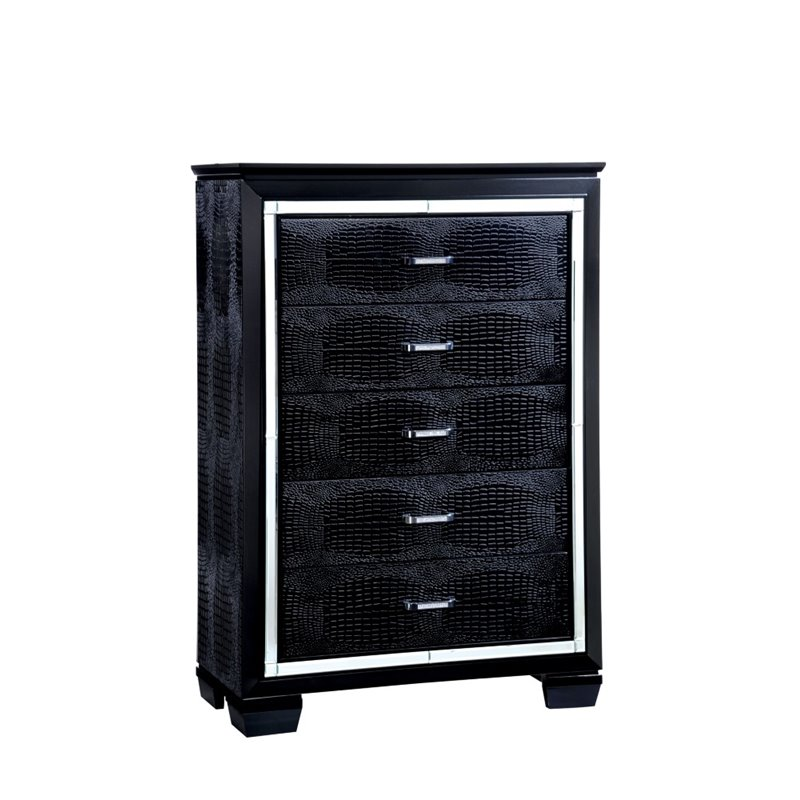 Furniture of America Rachel 5 Drawer Chest in Black
