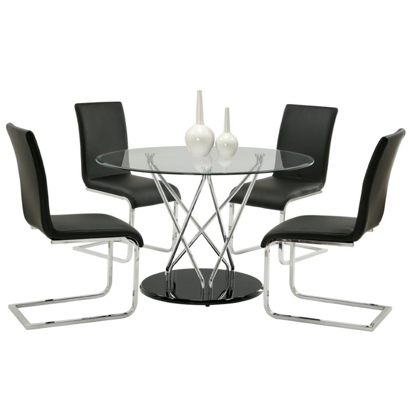 Furniture of America Tenille 5 Piece Dining Set in Black and Chrome