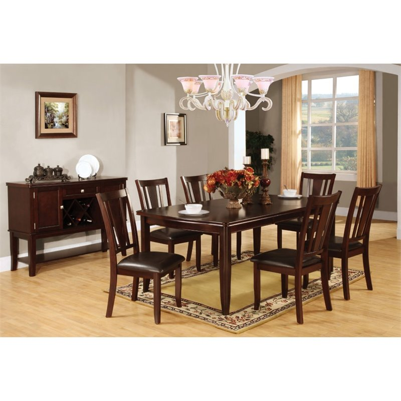 Furniture of America Rosewood 7 Piece Dining Set in Espresso