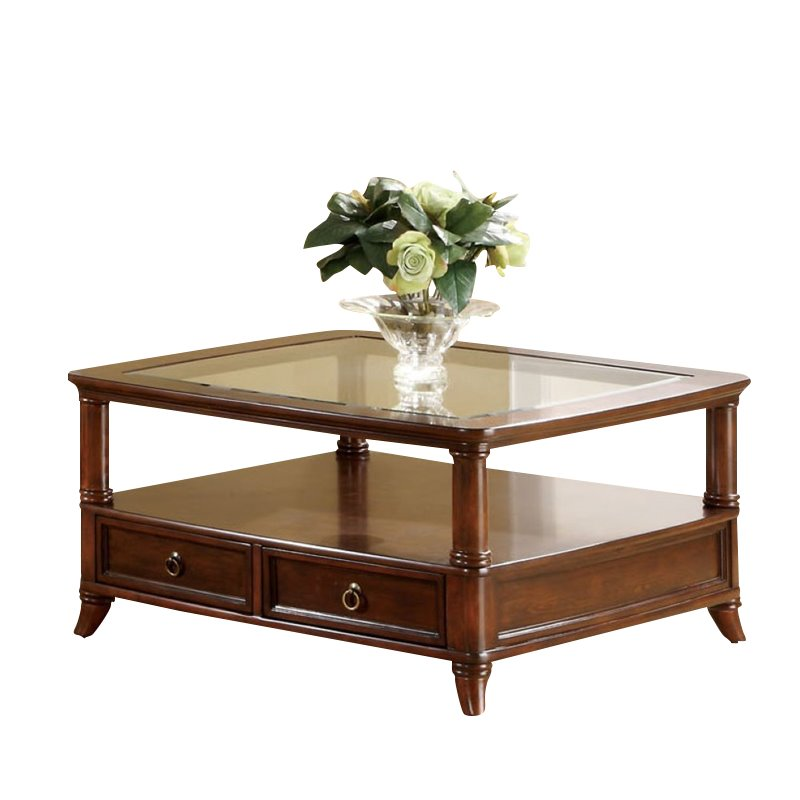 Furniture of America Viera Glass-Top Square Coffee Table in Cherry