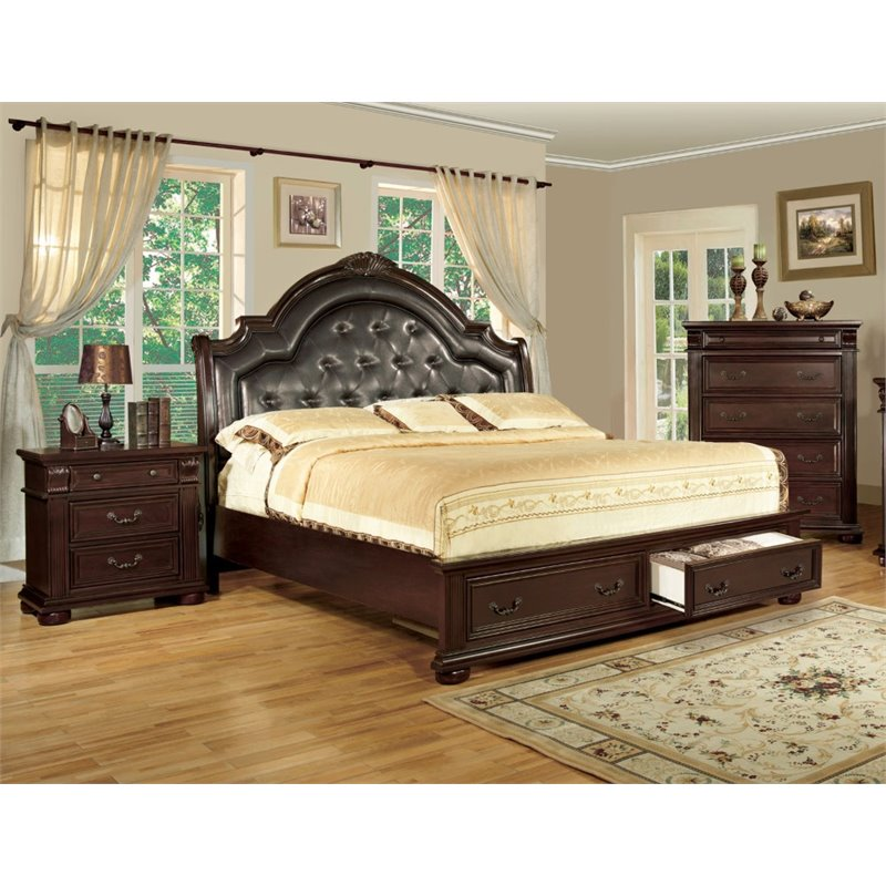 Furniture of America Moore 3 Piece Queen  Panel Bedroom Set in Brown Cherry
