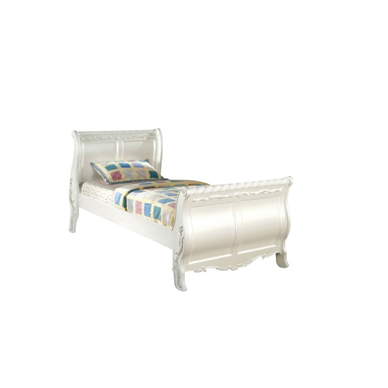 Furniture of America Rollison Twin Sleigh Bed in Pearl White